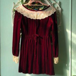 Vintage velvet burgundy mini dress.